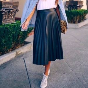 7 for all mankind leather pleated skirt
